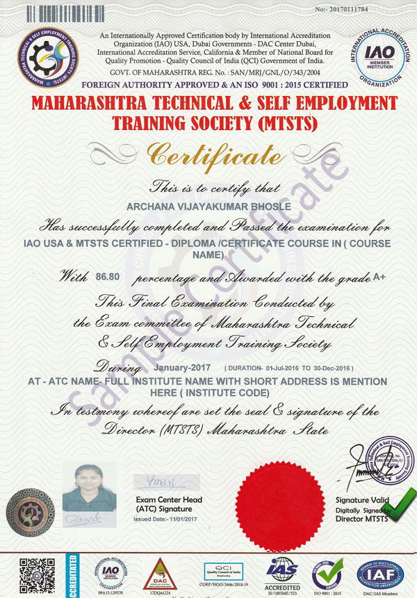 Sample Certificates  MtstsMaharashtra India